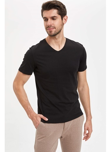 DeFacto V Yaka Slim Fit Basic Pamuklu Tişört Siyah
